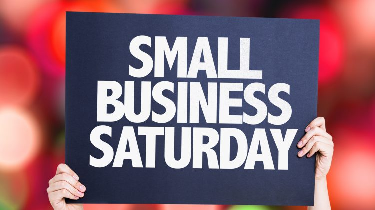 Small Business Saturday card with bokeh background
